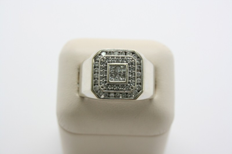 GENTS DIAMOND RING  14K WHITE GOLD