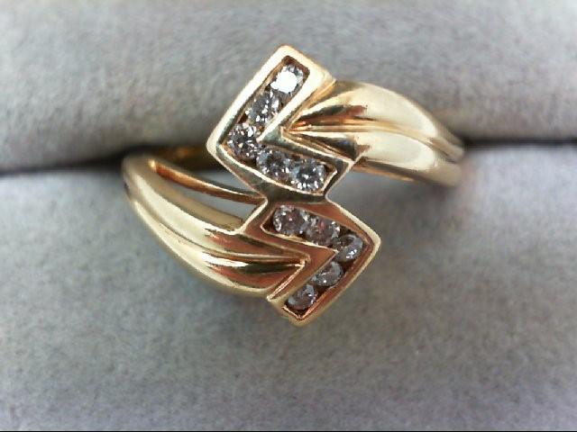 Lady's Diamond Cluster Ring 10 Diamonds 0.2 Carat T.W. 14K Yellow Gold 3.8g