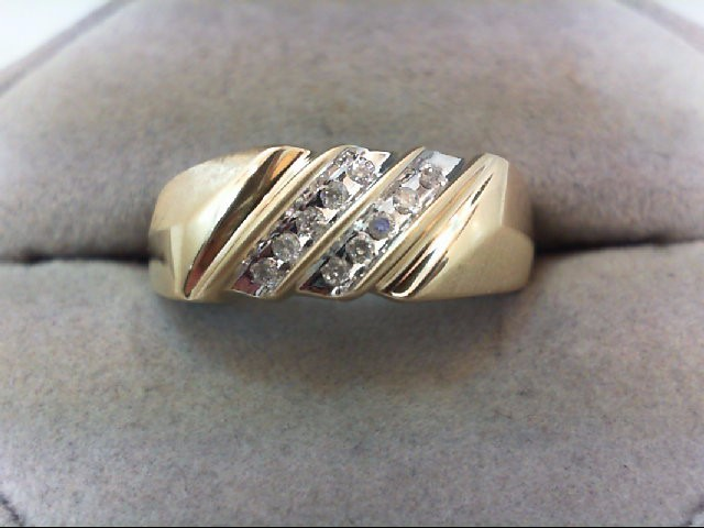 Gent's Gold-Diamond Wedding Band 10 Diamonds .10 Carat T.W. 10K Yellow Gold