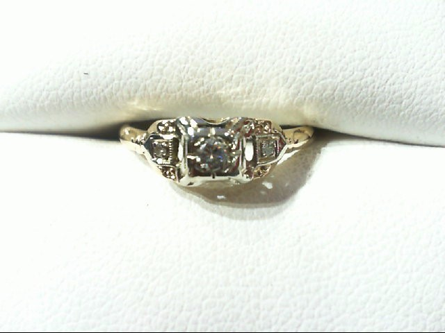 Lady's Diamond Engagement Ring 3 Diamonds .12 Carat T.W. 14K 2 Tone Gold 1.5g