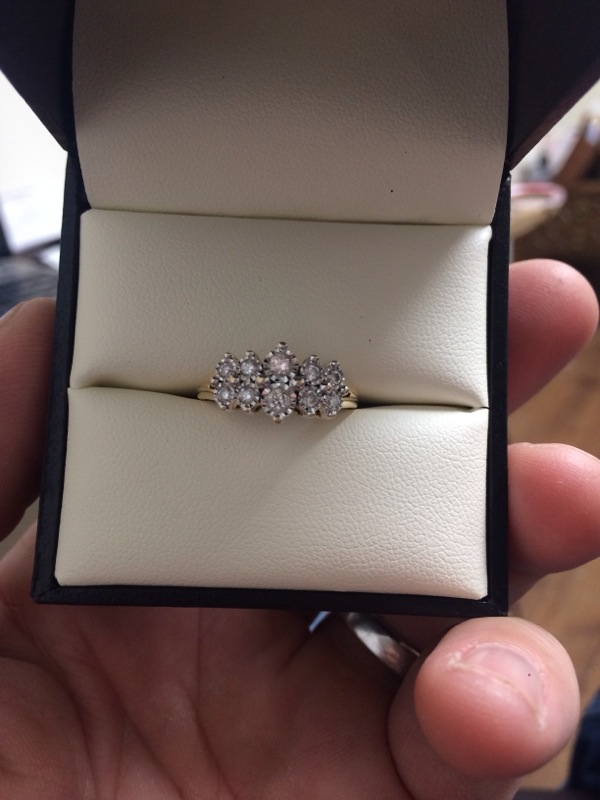 Lady's Diamond Cluster Ring 8 Diamonds .42 Carat T.W. 10K Yellow Gold 2.3dwt
