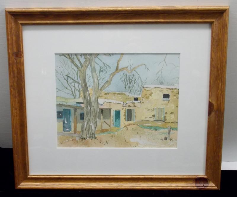 SALLY SWANSON Original Framed Watercolor - Old Adobe w/photo