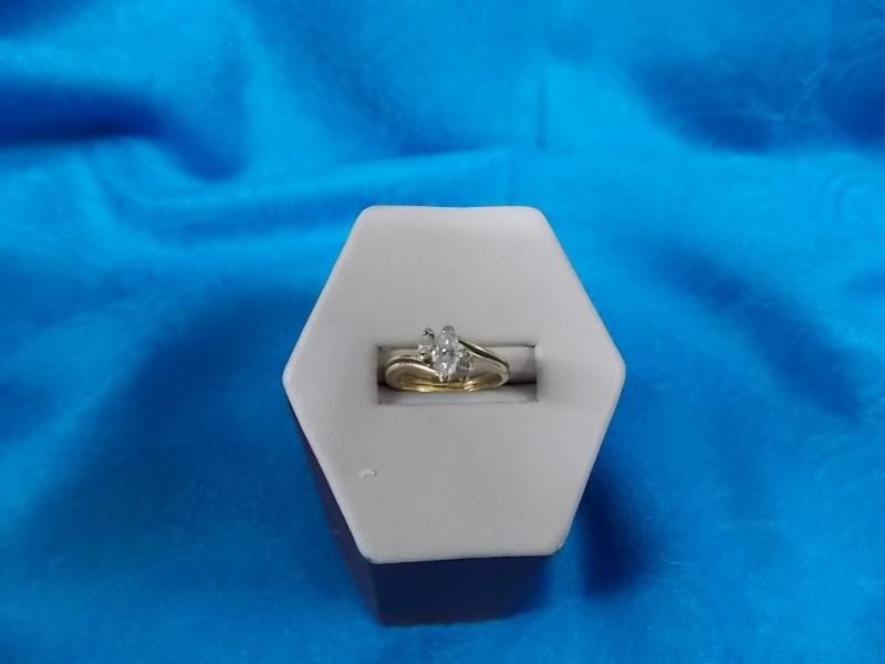 Lady's Diamond Wedding Set 2 Diamonds .49 Carat T.W. 14K Yellow Gold Size 5.5