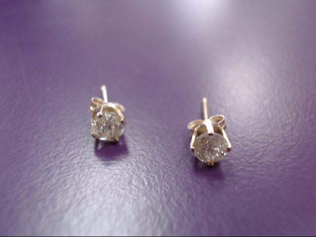 Gold-Diamond Earrings 2 Diamonds .40 Carat T.W. 14K Yellow Gold 0.49g