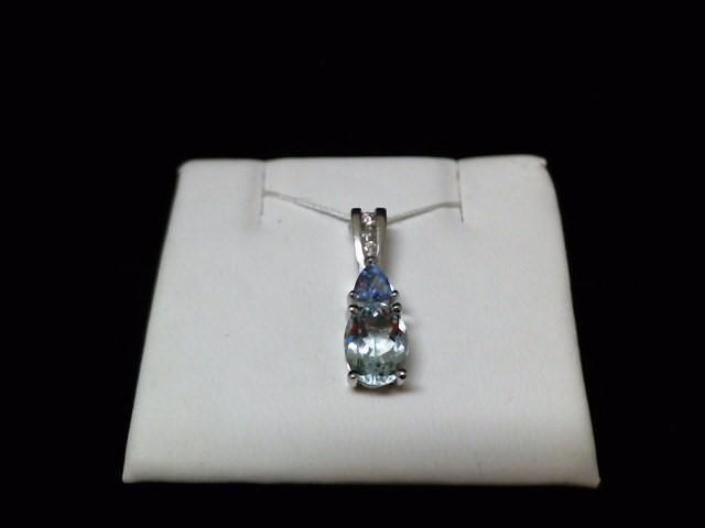 Blue Stone Gold-Diamond & Stone Pendant 3 Diamonds .03 Carat T.W.
