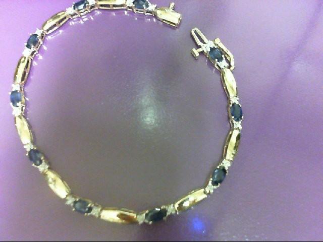 Sapphire Gold-Diamond & Stone Bracelet 20 Diamonds 0.2 Carat T.W. 10K Yellow Gol