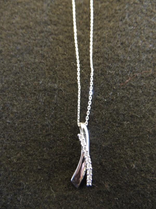 Diamond Necklace 9 Diamonds .18 Carat T.W. 14K White Gold 3.3g