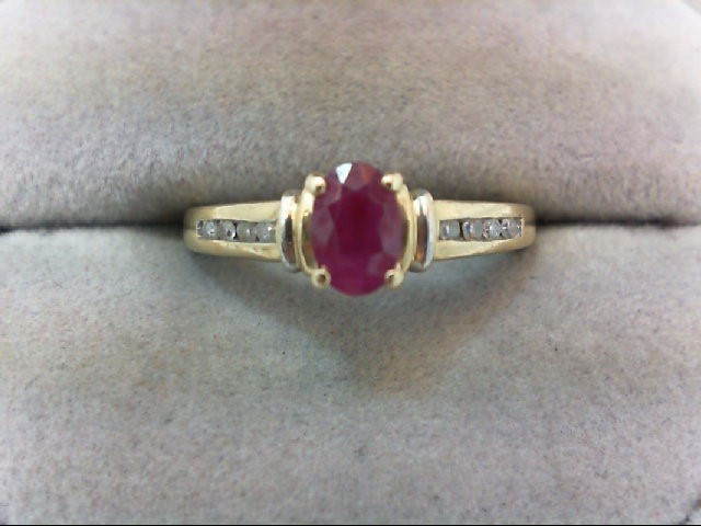 Ruby Lady's Stone & Diamond Ring 8 Diamonds .16 Carat T.W. 10K Yellow Gold 2.1g