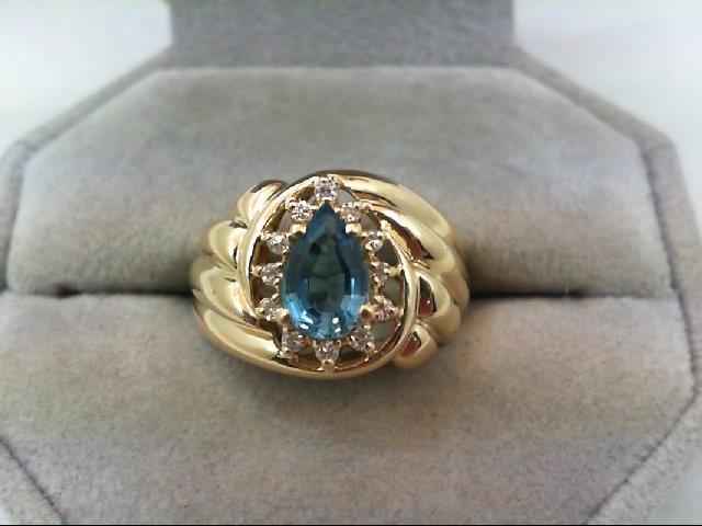 Blue Topaz Lady's Stone & Diamond Ring 12 Diamonds .12 Carat T.W. 14K Yellow Gol