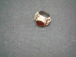 Red Stone Gent's Silver & Stone Ring 925 Silver 15.1g