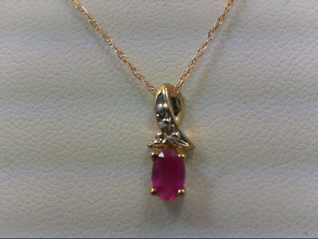 Ruby Gold-Stone Pendant 10K Yellow Gold 0.8g