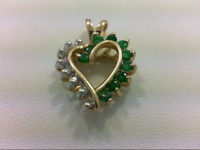 Emerald Gold-Diamond & Stone Pendant 8 Diamonds 0.08 Carat T.W. 14K Yellow Gold