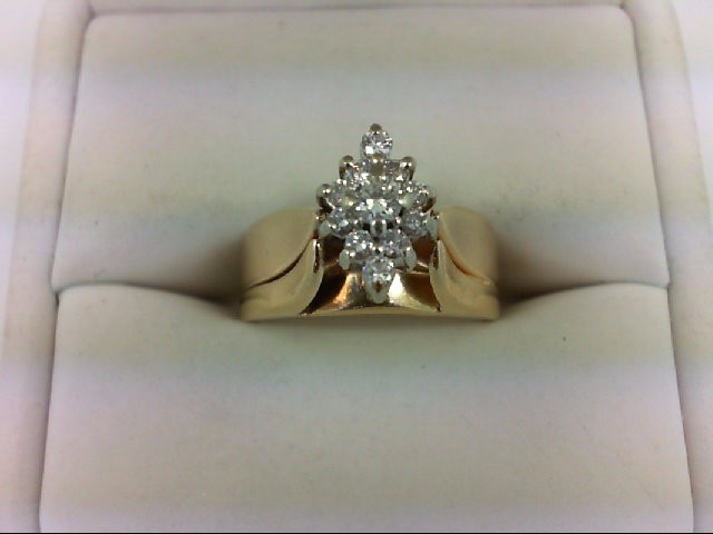 Lady's Diamond Cluster Ring 11 Diamonds 0.32 Carat T.W. 14K Yellow Gold 6.5g