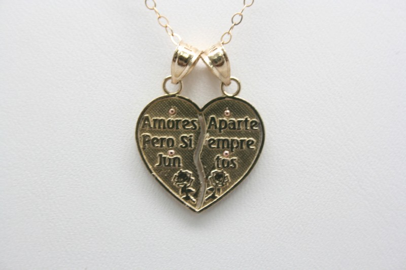 VIRGEN MARY DOUBLE HEART 14K YELLOW GOLD