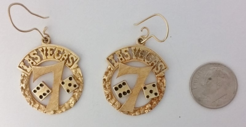"14K Yellow Gold LAS VEGAS & Dice Dangle Earrings ""Lucky 7"""