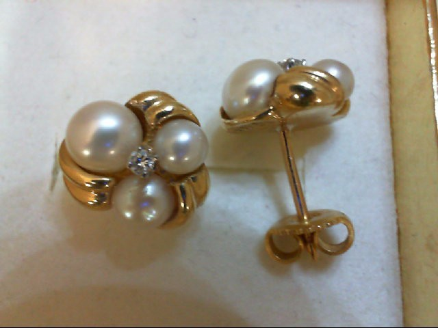 Pearl Gold-Diamond & Stone Earrings 2 Diamonds 0.04 Carat T.W. 14K Yellow Gold 4