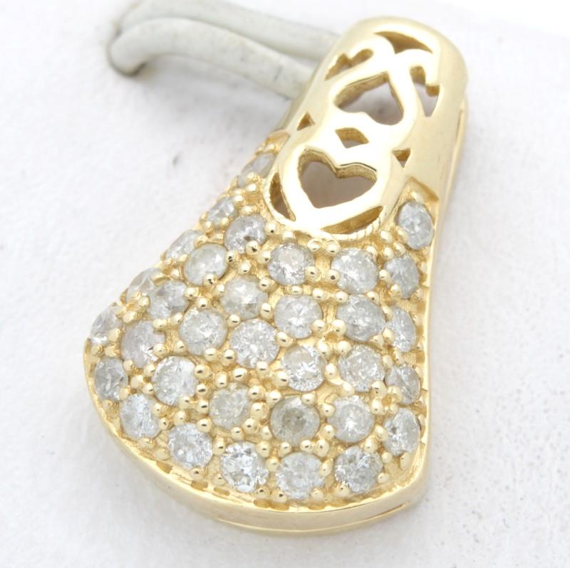 ESTATE DIAMOND PENDANT CHARM SOLID 14K YELLOW GOLD HEART LOVE DROP