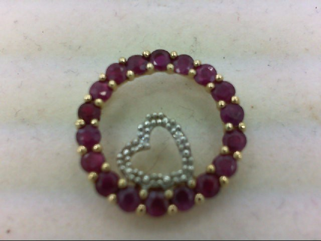 Red Stone Gold-SPINEL Pendant 10K Yellow Gold 2.8g