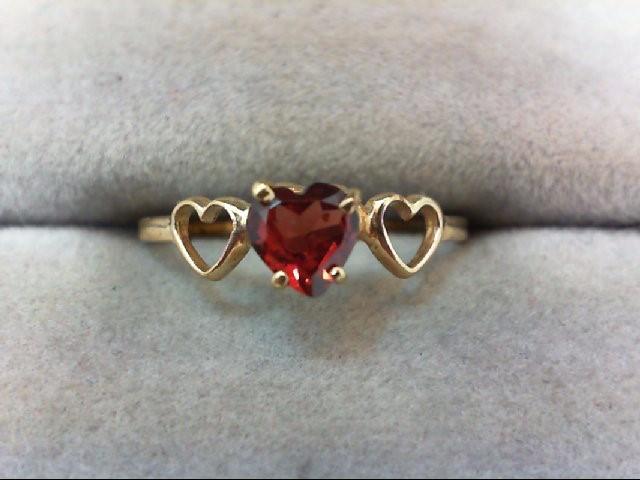 Almandite Garnet Lady's Stone Ring 10K Yellow Gold 1g