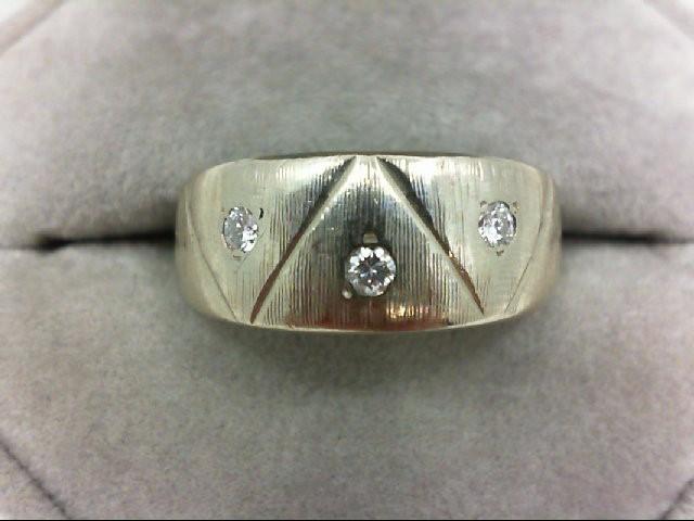 Gent's Gold-Diamond Wedding Band 3 Diamonds 0.15 Carat T.W. 14K White Gold 6.8g