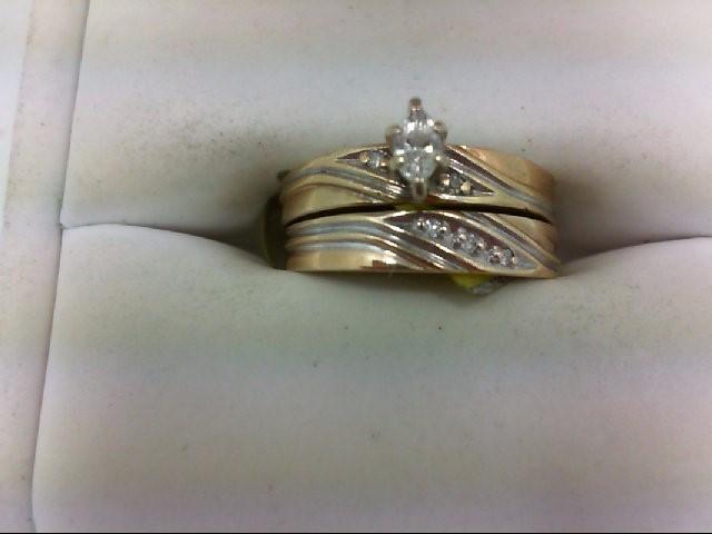 Lady's Diamond Wedding Set 6 Diamonds 0.2 Carat T.W. 10K Yellow Gold 2.9g Size:6