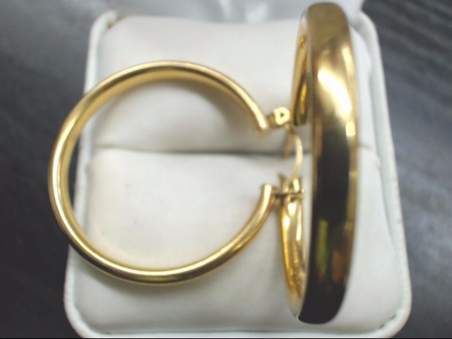 "ESTATE HOOP EARRINGS SOLID 14K GOLD PLAIN CIRCLE HOLLOW SNAP 1.25"""