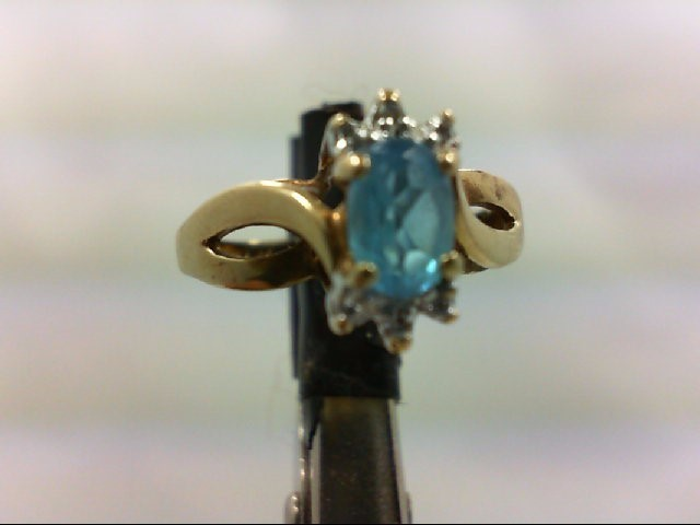 Blue Topaz Lady's Stone & Diamond Ring 2 Diamonds 0.02 Carat T.W. 10K Yellow Gol