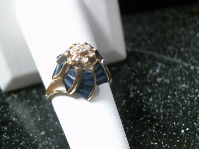 Blue Stone Lady's Stone & Diamond Ring 7 Diamonds .07 Carat T.W.