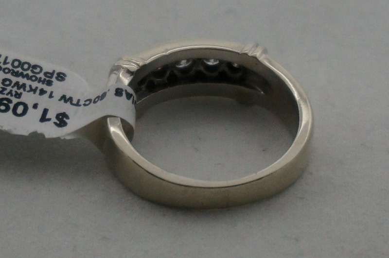 Gent's Gold-Diamond Wedding Band 5 Diamonds .60 Carat T.W. 14K White Gold