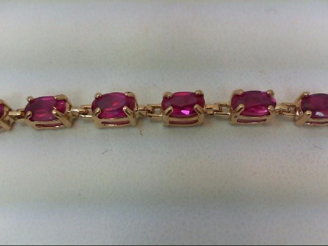 Ruby Gold-Stone Bracelet 10K Yellow Gold 4.9g
