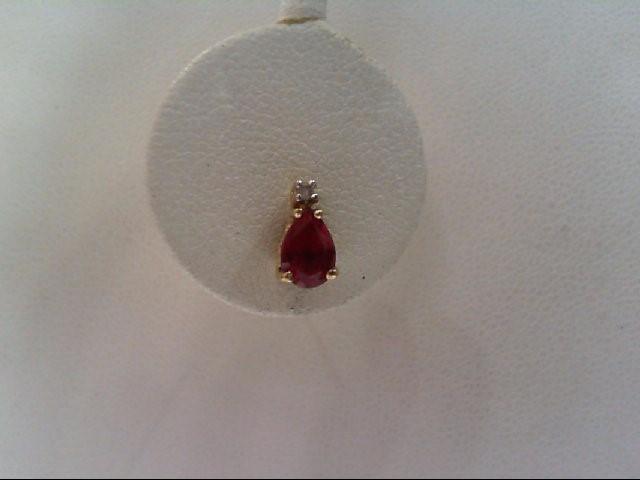 Ruby Gold-Diamond & Stone Earrings 2 Diamonds .02 Carat T.W. 14K Yellow Gold