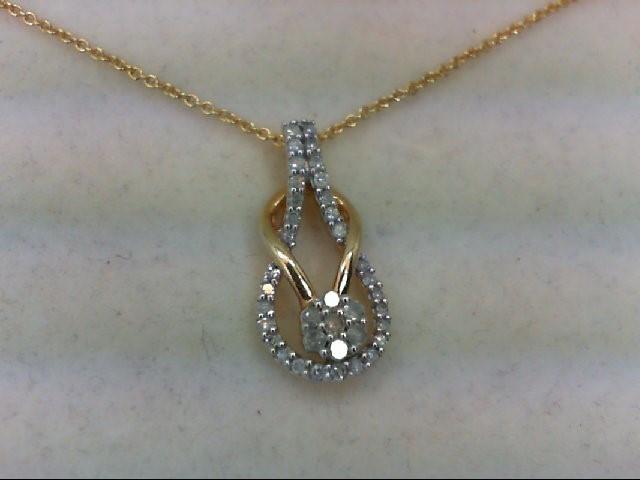 Silver-Diamond Pendant 37 Diamonds 0.37 Carat T.W. 925 Silver 3.4g