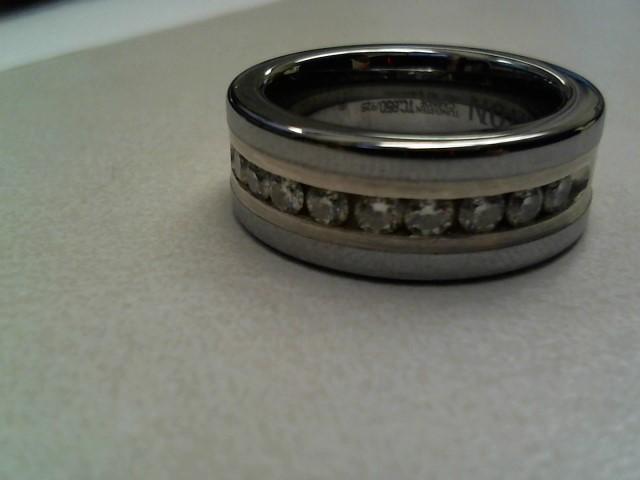 Gent's Diamond Ring 9 Diamonds .90 Carat T.W. Silver Tungsten 10.6dwt