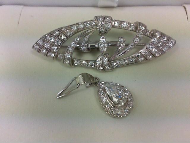 Antique Gold-Diamond Brooch 84 Diamonds 3.07 Carat T.W. 18K White Gold 10.5g