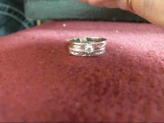Lady's Diamond Wedding Set 6 Diamonds .18 Carat T.W. 14K White Gold 2.7dwt