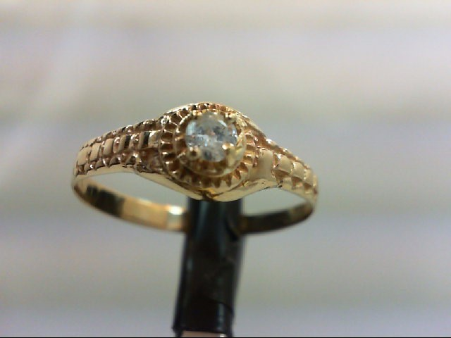 Lady's Diamond Engagement Ring 0.15 CT. 14K Yellow Gold 2.5g Size:10.75