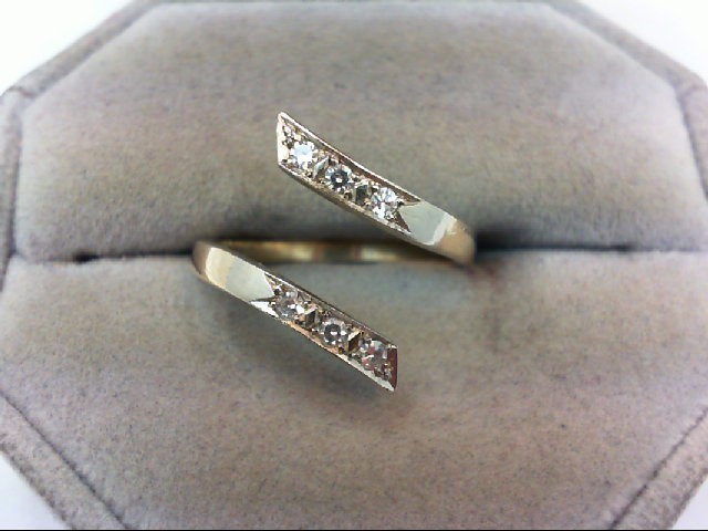 Lady's Gold-Diamond Ring Guard 6 Diamonds .18 Carat T.W. 14K Yellow Gold 2.9g