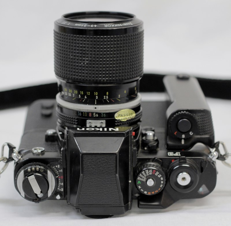 NIKON F3 FILM CAMERA WITH MD-4 MOTOR DRIVE AND 43-86MM LENS
