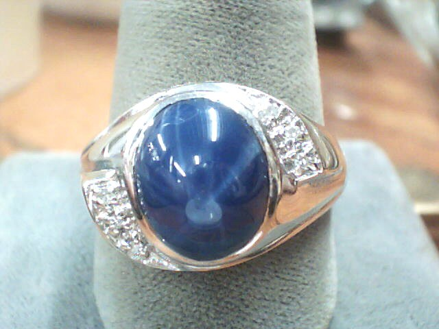 Blue Stone Gent's Stone & Diamond Ring 6 Diamonds .06 Carat T.W. 14K White Gold