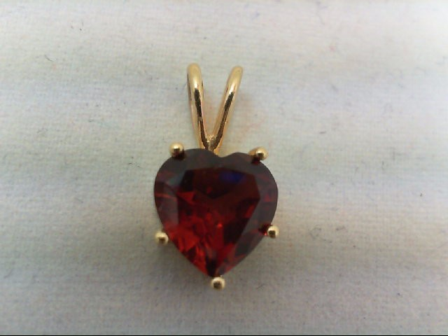 Almandite Garnet Gold-Stone Pendant 14K Yellow Gold 1.2g