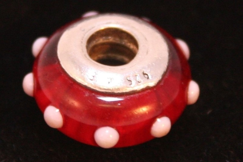 Retired Pandora Seeing Spots Red & White Charm 925 ALE Morano Glass #790633