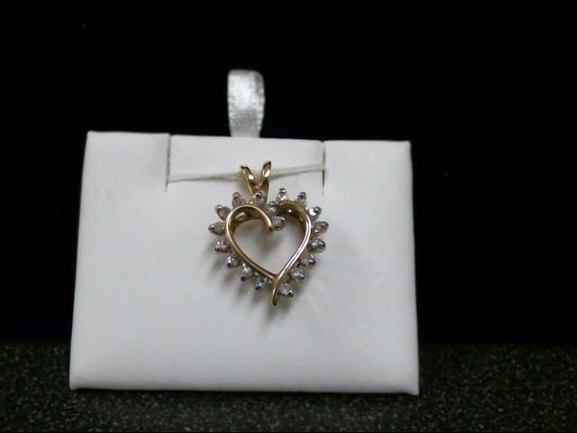 Gold-Multi-Diamond Pendant 18 Diamonds .18 Carat T.W. 14K Yellow Gold 2.4g