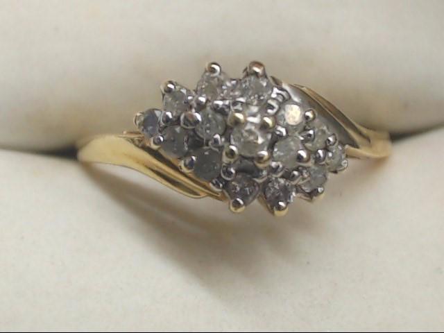 Lady's Diamond Cluster Ring 15 Diamonds .15 Carat T.W. 10K Yellow Gold 2.1g