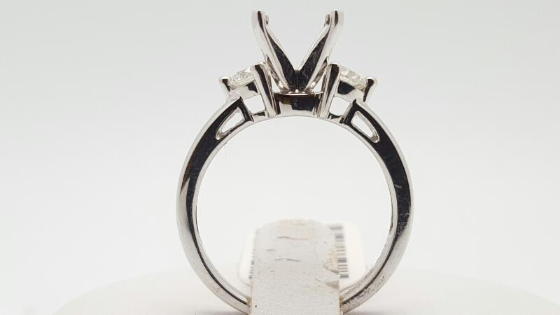 Lady's Diamond Engagement Ring 2 Diamonds .48 Carat T.W. 18K White Gold 4.1g