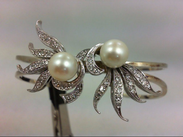 Pearl Gold-Diamond & Stone Bracelet 43 Diamonds .50 Carat T.W. 14K White Gold