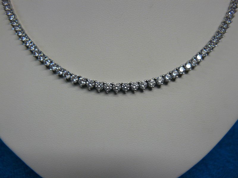 "16"" Cubic Zirconia Stone Necklace 925 Silver 13.36dwt"