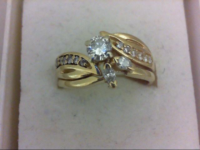 Lady's Diamond Wedding Set 15 Diamonds 0.55 Carat T.W. 18K Yellow Gold 6.5g Size