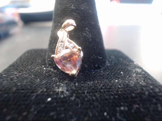 Synthetic Pink Stone Gold-Stone Pendant 10K Yellow Gold 1.45g