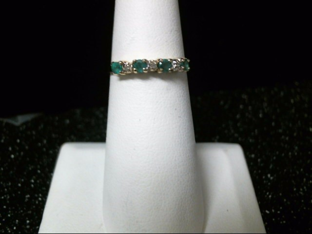 Green Stone Lady's Stone & Diamond Ring 3 Diamonds .03 Carat T.W.
