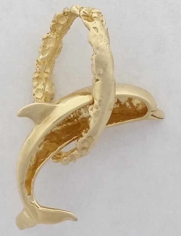 """Dolphin Jumping Through A Hoop"" 14K Yellow Gold Pendant"